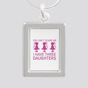 I Have Three Daughters Silver Portrait Necklace