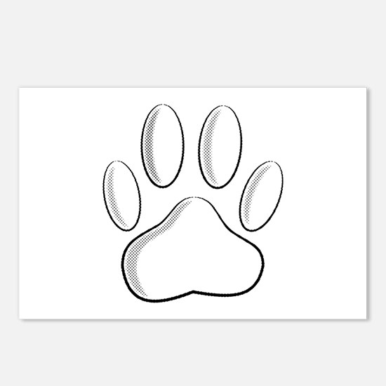 White Dog Paw Print With Postcards (Package of 8)