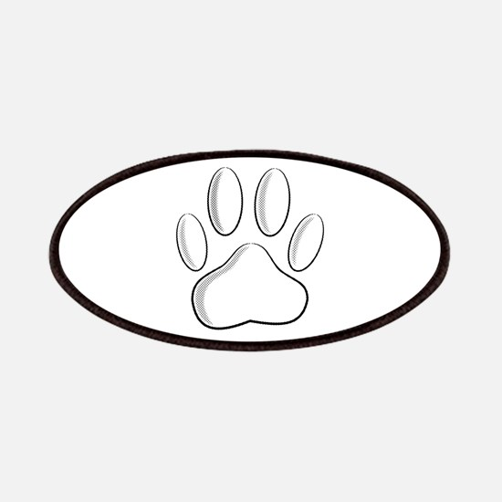 White Dog Paw Print With Newsprint Effect Patch