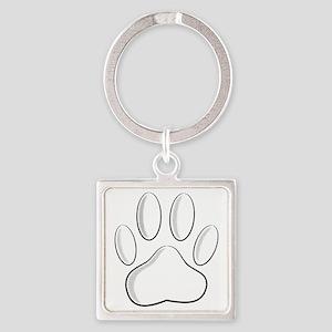 White Dog Paw Print With Newsprint Effec Keychains