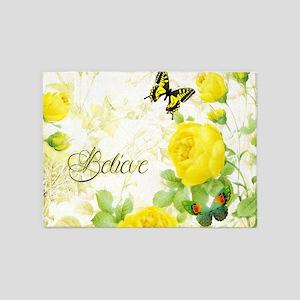 Believe - yellow roses 5'x7'Area Rug