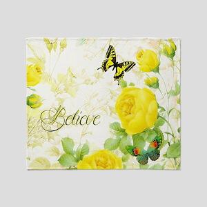 Believe - yellow roses Throw Blanket