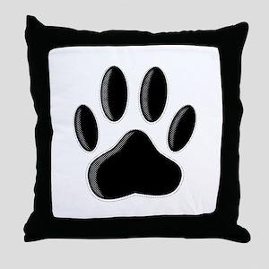 Black Dog Paw Print With Newsprint Ef Throw Pillow