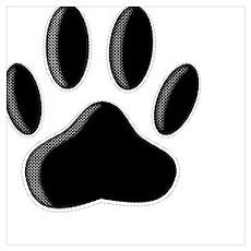 Black Dog Paw Print With Newsprint Effect Poster