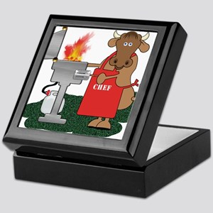 BBQ Chef Grilling Cow Keepsake Box
