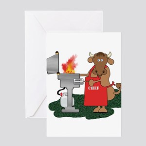 BBQ Chef Grilling Cow Greeting Cards