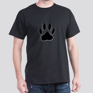 Black Dog Paw Print With Newsprint E T-Shirt