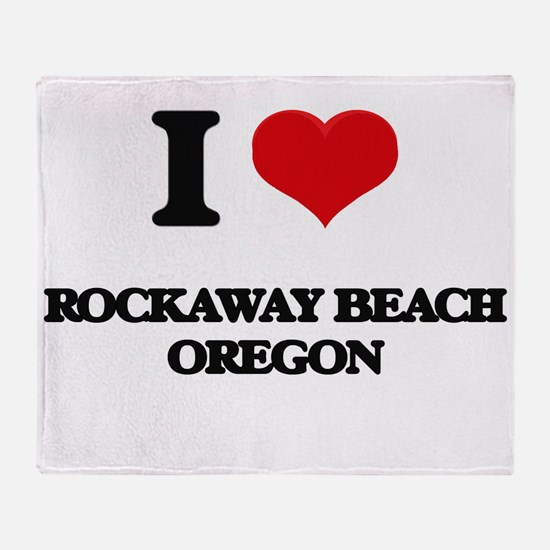 I love Rockaway Beach Oregon Throw Blanket