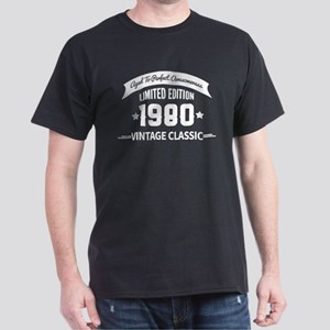 Birthday Born 1980 Aged To Perfection Dark T-Shirt