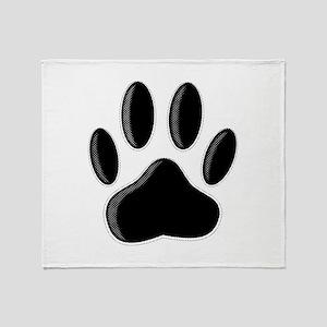 Black Dog Paw Print With Newsprint E Throw Blanket
