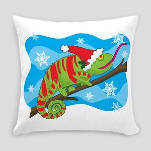 christmas chameleon Everyday Pillow