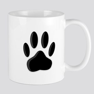 Black Dog Paw Print With Newsprint Effect Mugs