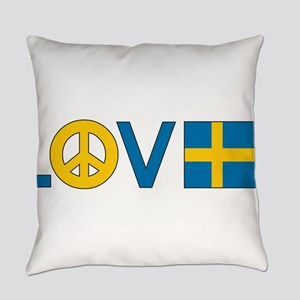 love peace sweden Everyday Pillow