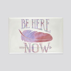 Be Here Now Purple Rectangle Magnet