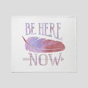 Be Here Now Purple Throw Blanket