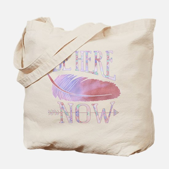 Be Here Now Purple Tote Bag