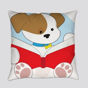 Cute Puppy Reading Everyday Pillow