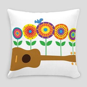 Ukulele Flowers Everyday Pillow