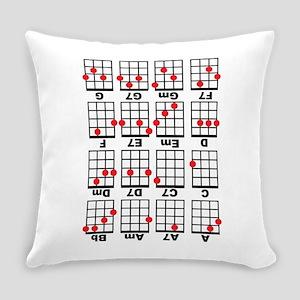 Uke Chord Cheat White Everyday Pillow