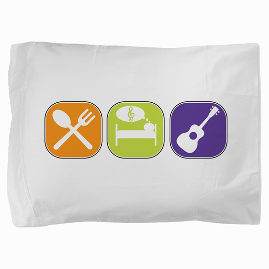 Eat_Sleep_Play Uke White Pillow Sham