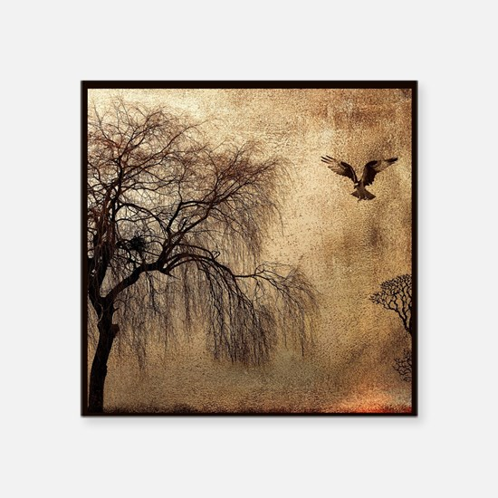 Weeping Willow with Bird Sticker