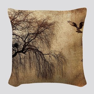 Weeping Willow with Bird Woven Throw Pillow