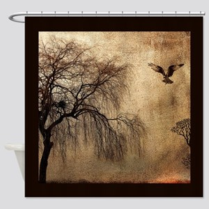 Weeping Willow with Bird Shower Curtain