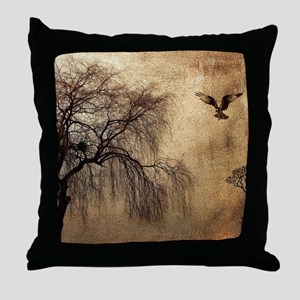 Weeping Willow with Bird Throw Pillow
