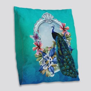 Peacock Design With Flowers Burlap Throw Pillow
