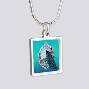 Peacock Design With Flowers Silver Necklaces