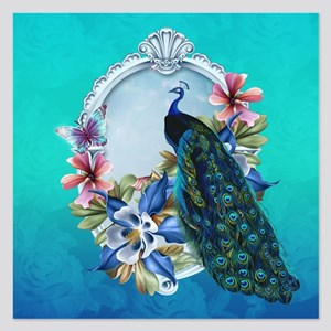 Peacock Design With Flowers 5.25 X Invitations