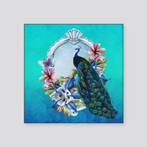 """Peacock Design With Flowers Square Sticker 3"""""""