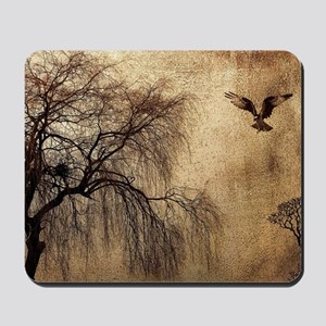 Weeping Willow with Bird Mousepad