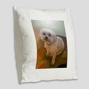 Miniature Poodle Angus Burlap Throw Pillow