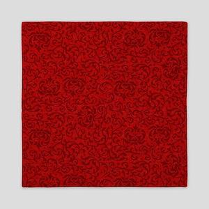 Renaissance Red Tudor Floral Queen Duvet