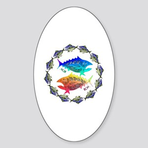 Cool Tuna Ring. Fish Retro Tuna RCM Sticker (Oval)