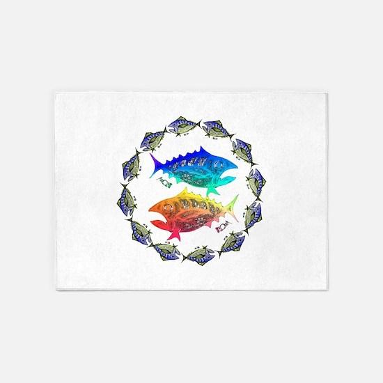 Cool Tuna Ring. Fish Retro Tuna RCM 5'x7'Area Rug