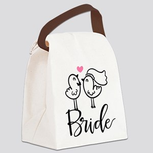Cute Bride Birds Wedding Canvas Lunch Bag