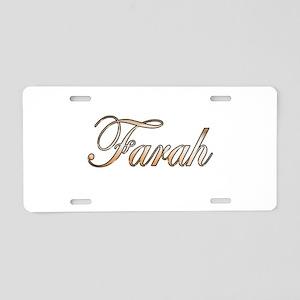 Gold Farah Aluminum License Plate