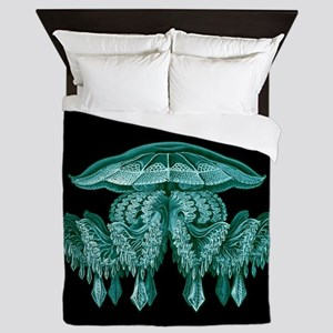 Blue Jellyfish by Ernst Haeckel Queen Duvet