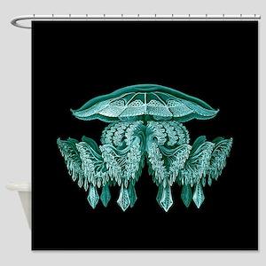 Blue Jellyfish by Ernst Haeckel Shower Curtain