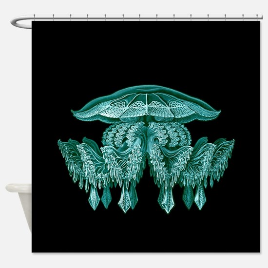 Blue Jellyfish by Ernst Haeckel Shower Curtain