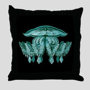 Blue Jellyfish by Ernst Haeckel Throw Pillow