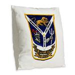 USS JESSE L. BROWN Burlap Throw Pillow