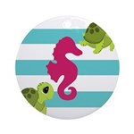 Sea Turtles Seahorse Ornament (Round)
