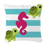 Sea Turtles Seahorse Woven Throw Pillow