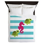 Sea Turtles Seahorse Queen Duvet
