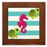 Sea Turtles Seahorse Framed Tile