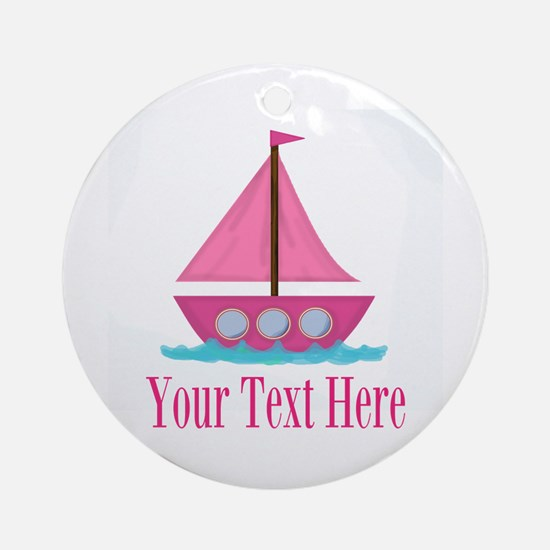 Pink Sailboat Personalizable Ornament (Round)