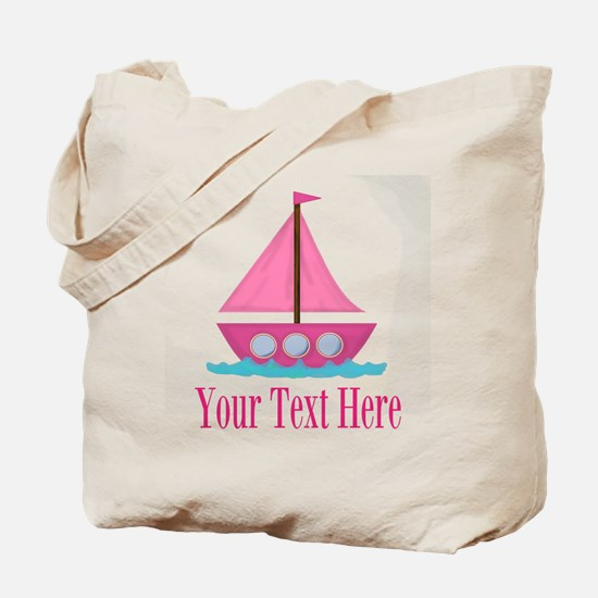 Pink Sailboat Personalizable Tote Bag